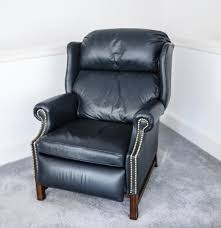navy leather wingback recliner with nailhead trim ebth