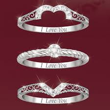 stackable diamond rings i you heart shaped diamond stacking rings by