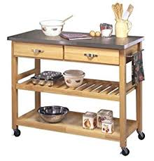 Amazoncom Home Styles Natural Designer Utility Cart With - Kitchen cart table