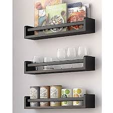 Wall Mount Spice Racks For Kitchen Set Of 3 Kitchen Wall Shelf Spice Rack Organizer Wood 17 5 Inch