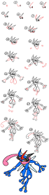 how to draw ash greninja from pokemon art for kids hub