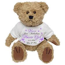 flower girl teddy personalised teddy wedding favour thank you flower girl