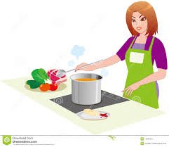 qui fait la cuisine le femme dans la cuisine illustration de vecteur illustration du