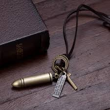cross ring necklace images Icareu vintage leather rope bullet necklace male cross pendant jpg