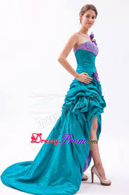 and lavender a line one shoulder beaded prom dress high low