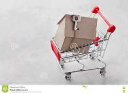 shopping cart with model of cardboard house on gray background