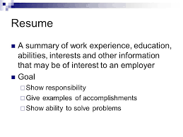 Example Of A Summary On A Resume by How To Write A Resume Ppt Video Online Download