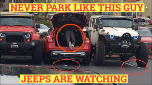 his and hers jeeps jeepers gives a cruel lesson to double parked mercedes owner how