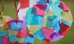 craft for tissue paper mosaic ornaments play