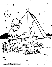 fun printable coloring sheet boy roasting marshmallows over