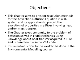 objectivos this chapter aims to present resolution methods for the advection diffusion equation in a