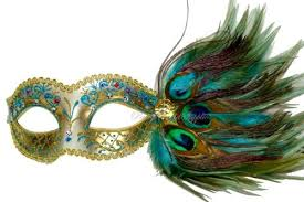 masquerade mask turquoise peacock feather
