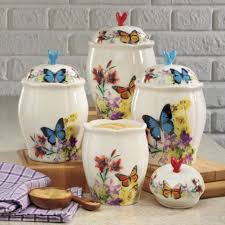 country canisters for kitchen 4 piece butterfly canister set canister sets butterfly and doors