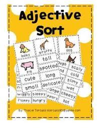 nouns verbs and adjectives sort set 2 education grades k