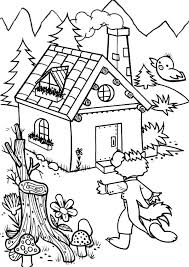 wolf found the house of three little pigs coloring pages batch