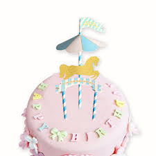 carousel cake topper carousel pink and blue theme happy birthday flag with paper straw