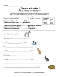 spanish tener animals u2014 instant worksheets