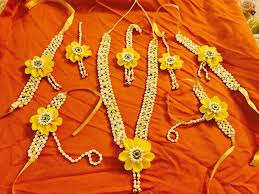 flower jewellery yellow bridal flower jewellery