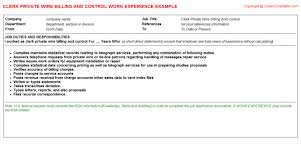 Billing Clerk Job Description For Resume by Aia Billing Cv Work Experience Samples