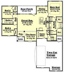 3 Bed 2 Bath Floor Plans by House Plan 3 Beds 2 Baths 1600 Sq Ft Plan 430 55 Main Floor Plan