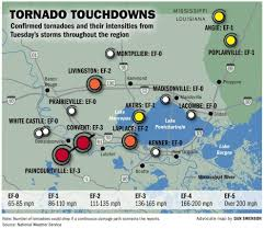 New Orleans Louisiana Map by Path Of Destruction Record 11 Tornadoes Confirmed So Far In