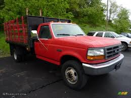 1997 vermillion red ford f350 xl regular cab dually stake truck