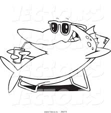 vector of a cartoon fish relaxing on a lounge chair and sipping a
