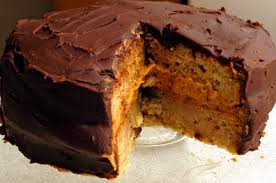 banana cake with peanut butter filling and chocolate ganache