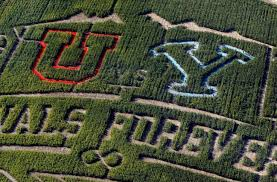 corn maze at thanksgiving point depicts the byu vs utah football
