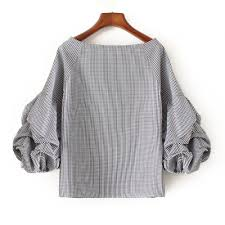 houndstooth blouse houndstooth plaid puff sleeve appliques embroidery checked