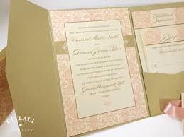 blush pink damask pocket wedding invitations u0026 ribbon citlali