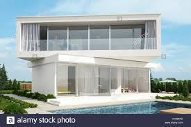 Home Design Stock Images by Contemporary Modern White House Design With Offset Floors Set At