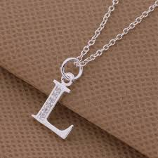 silver necklace with letters images Top quality plated silver letters l n o pendant necklace with jpg