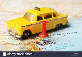 Map Of Valencia Spain by Close Up Of Valencia Spain Map And A Taxi Toy Stock Photo