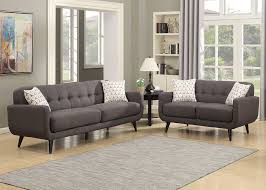 amazon com ac pacific crystal collection upholstered charcoal mid amazon com ac pacific crystal collection upholstered charcoal mid century 2 piece living room set with tufted sofa and loveseat and 4 accent pillows