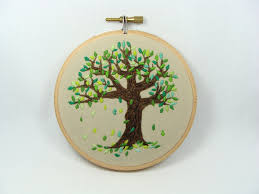 Home Decor Tree by Hand Embroidered Falling Leaves Wall Hanging 4 Inch Hoop