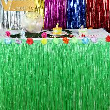 Tropical Themed Party Decorations - hibiscus artificial grass table skirt for hawaiian party
