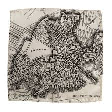 Boston Map by Boston Map Pocket Square 1814 Vintage Print By Cyberoptix