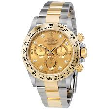 golden ferrari with diamonds rolex cosmograph daytona champagne diamond dial steel and 18k