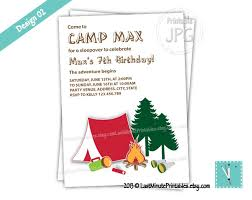 campout camp birthday party printable invitation card campfire