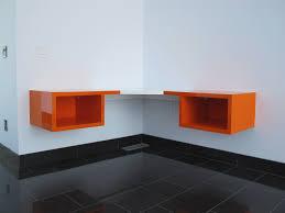 Diy Corner Desk Ideas Furniture Black Glossy Wooden Floating Corner Desk Under Computer