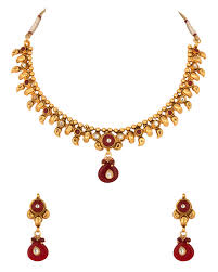 red stones gold necklace images Buy designer necklace sets necklace sets with red white stones jpg