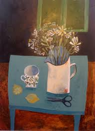 Blue Table Painting by Blue Table With Lemons Este Macleod Painting For Inspiration