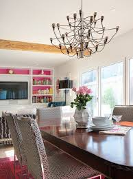 Contemporary Pendant Lighting For Dining Room Pink And Tan Dining Room Contemporary With Dining Table