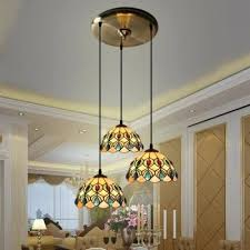 Three Light Pendant Three Light Pendant Chandelier Inch Round Shade Shell Stained
