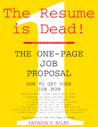 the one page job proposal proposals and books