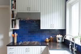 Backsplash For Kitchen With Granite Cobalt Blue Backsplash Kitchen Contemporary With Bold Color Black