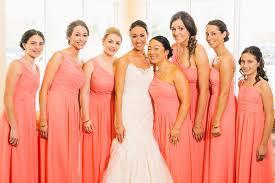 coral and gold bridesmaid dresses coral york wedding coral bridesmaid dresses flower