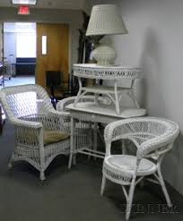 White Wicker Desk by Search All Lots Skinner Auctioneers