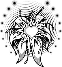 coloring page of a flower heart tattoo with a spiral coloring point